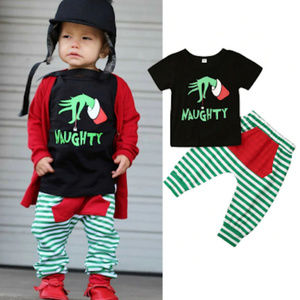 Dr Seuss Grinch Naughty Boys Christmas Outfit Set